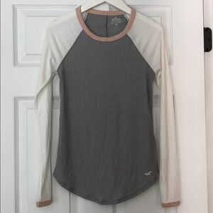 Grey, white, and pink Hollister Long Sleeve Shirt